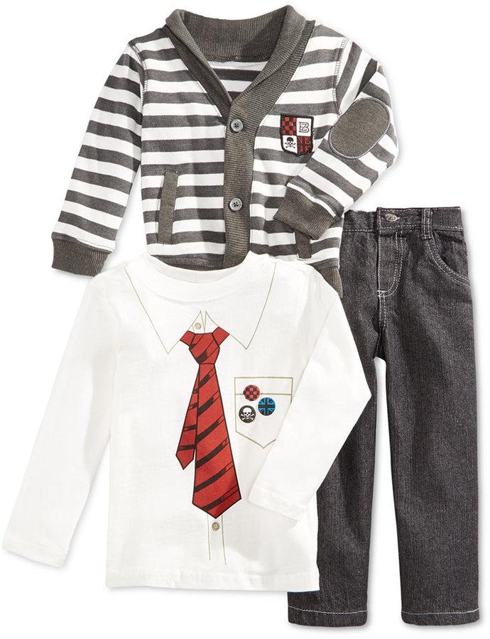 Nannette Little Boys' 3-Piece Cardigan, T-Shirt & Pants Set