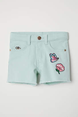 H&M Twill Shorts with Appliques - Turquoise