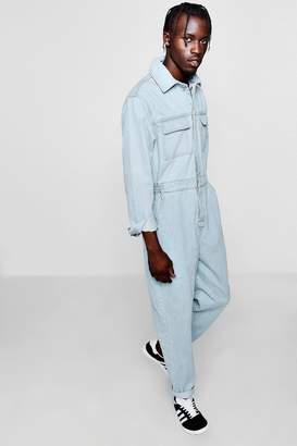 boohoo Long Sleeve Double Pocket Denim Boiler Suit