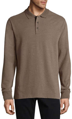 ST. JOHN'S BAY Long Sleeve Jersey Polo Shirt