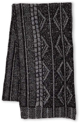Fraas Black & Grey Plated Argyle Scarf