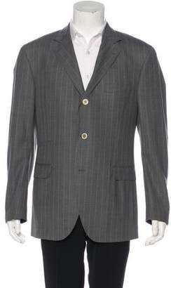 Brunello Cucinelli Suede-Accented Pinstripe Blazer