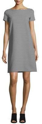 Lafayette 148 New York Cross-Back Textured Striped Jersey Shift Dress, Black/White $398 thestylecure.com