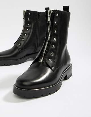 Dune Raffi black leather studded zip front ankle boot