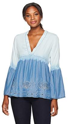 Margaritaville Women's Bell Sleeve High Low Embroidered Eyelet Top