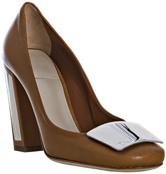 Christian Dior beige leather 'Escarpin' mirrored plaque pumps