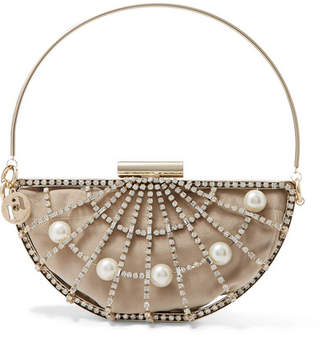 Rosantica Jodi Crystal And Faux Pearl-embellished Gold-tone And Velvet Clutch - one size