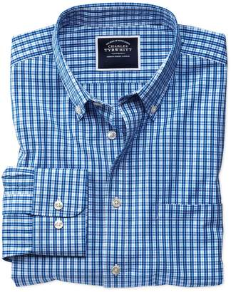 Charles Tyrwhitt Classic Fit Non-Iron Bright Blue Gingham Cotton Casual Shirt Single Cuff Size XXXL