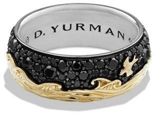 David Yurman Waves Band Ring with 18K Gold & Black Diamonds