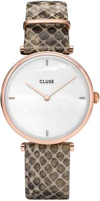 Cluse Triomphe Stainless Steel Leather-Strap Watch