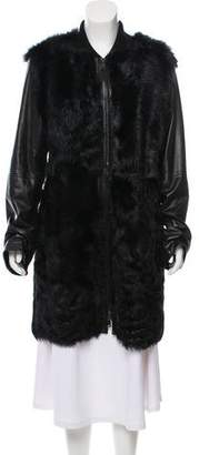 Vince Shearling-Trimmed Leather Coat