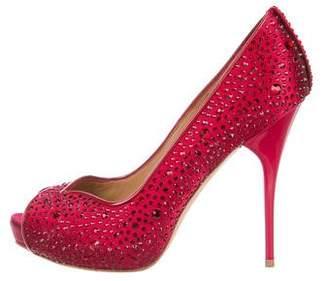 Alexander McQueen Jewel-Embellished Peep-Toe Pumps