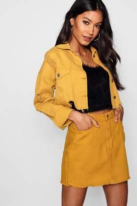 boohoo Mustard Denim Mini Skirt