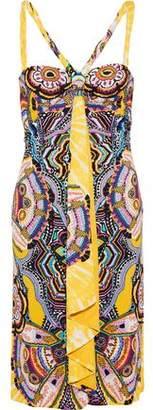 Roberto Cavalli Knotted Draped Printed Crepe Dress