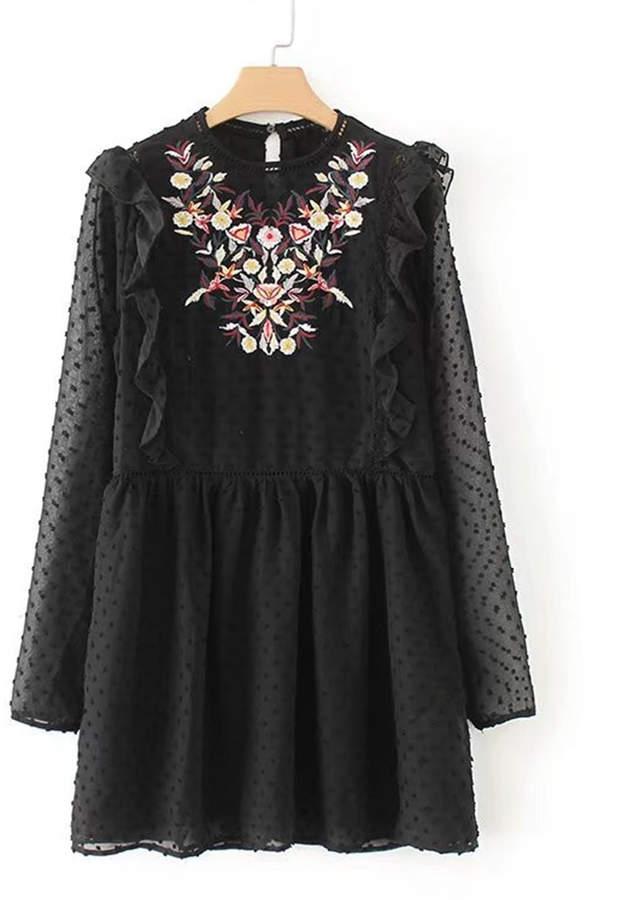 Ruffle Detail Dot Textured Embroidery Dress