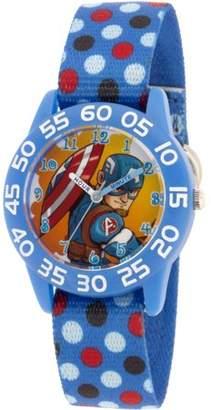 Marvel Marvel's Super Hero Adventure Captain America, Toddler Boys' Blue Plastic Time Teacher Watch
