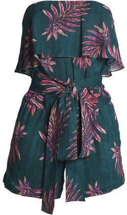Printed Layered Strapless Linen-Blend Playsuit