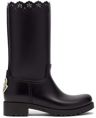 Simone Rocha 4 Moncler Floral Cut Out Rubber Boots - Womens - Black