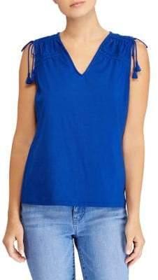 Lauren Ralph Lauren Ruched-Shoulder Cotton Tank Top