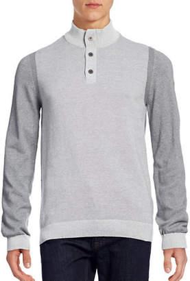Point Zero Buttoned Quarter-Zip Sweater