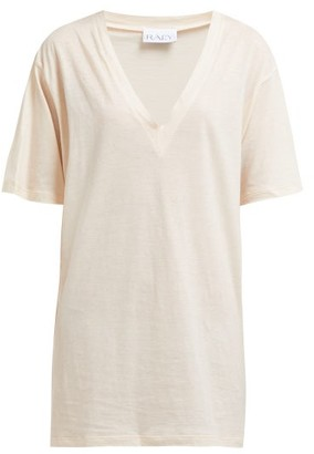 Raey V Neck Cotton Jersey T Shirt - Womens - Nude