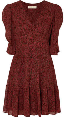 MICHAEL Michael Kors Printed Crepe Mini Dress - Burgundy