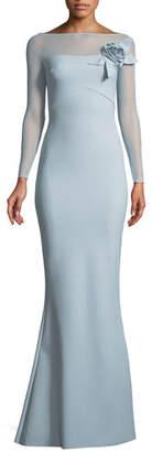 Chiara Boni Saori Illusion Long-Sleeve Gown w/ 3D Rose
