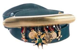 Judith Leiber Lizard Embellished Waist Belt