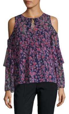 BCBGMAXAZRIA Floral Cold-Shoulder Top