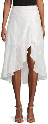 Allison Collection Women's Eyelet Mock-Wrap Skirt