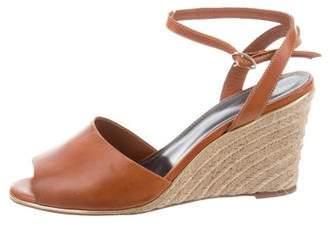 Vanessa Seward Leather Peep-Toe Wedges