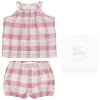Burberry BurberryBaby Girls Pink Cotton Top & Shorts Marissan Set
