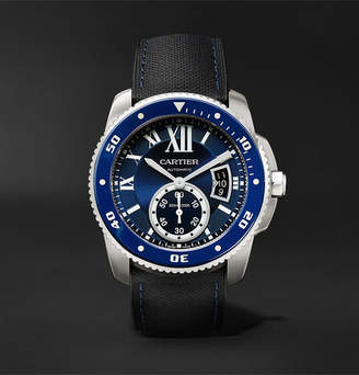 Cartier Calibre De Diver Automatic 42mm Stainless Steel And Leather Watch