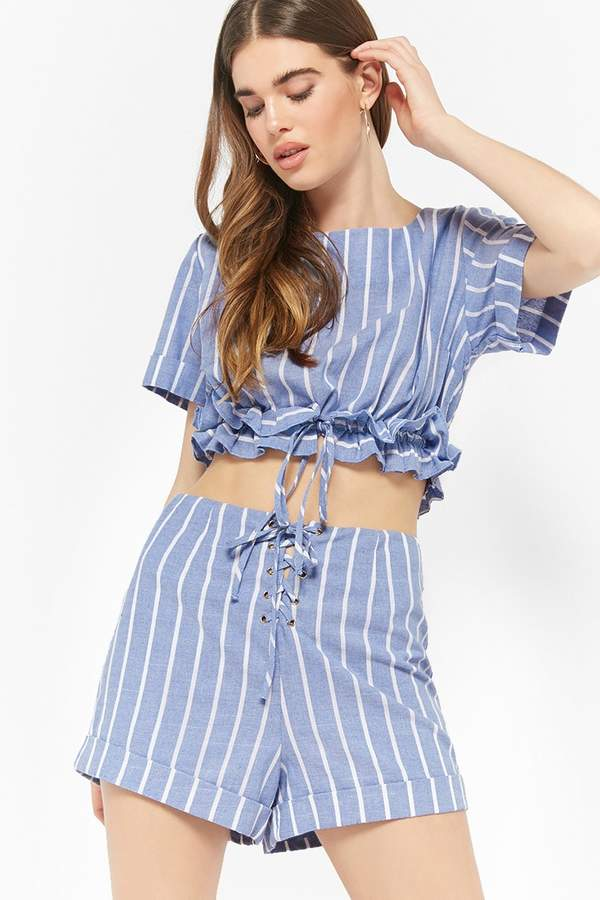 Forever 21 Striped Ruffle-Trim Top & Shorts Set