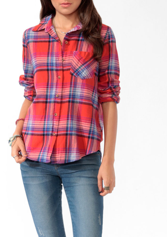 Forever 21 Relaxed Madras Plaid Flannel Shirt