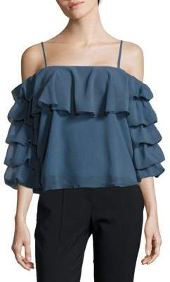 Ruffled Cold-shoulder Top $84 thestylecure.com