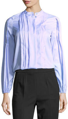 Escada Pleated Cotton Band-Collar Shirt