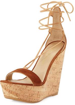 Stuart Weitzman Wrap It Suede Lace-Up Wedge Sandal, Saddle $455 thestylecure.com