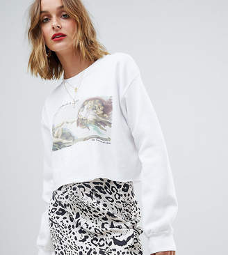 Reclaimed Vintage cropped oversized sweat with art print