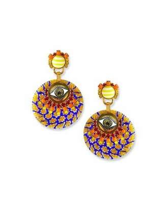 Elizabeth Cole Pierce Crystal Eye Earrings