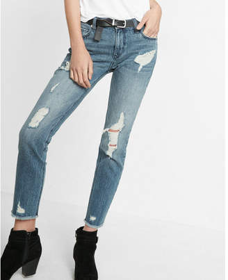 Express mid rise distressed original girlfriend jeans