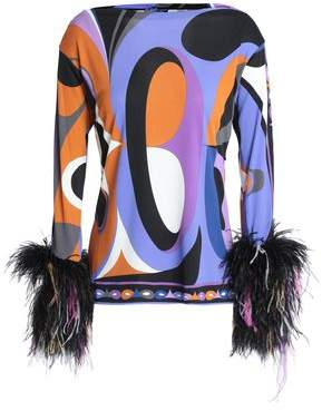 Emilio Pucci Feather-Trimmed Printed Jersey Top