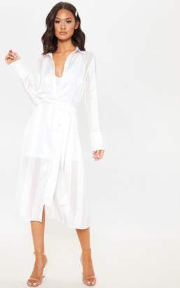 PrettyLittleThing White Satin Midi Shirt Dress