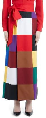 Sara Battaglia Colorblock Stretch Wool Wrap Skirt