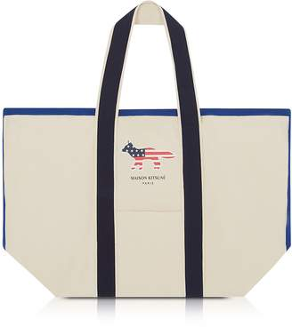 MAISON KITSUNÉ Richelieu XL Cotton Canvas Tote Bag
