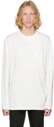 D.gnak By Kang.d White Long Sleeve Oblique T-Shirt