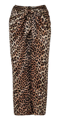 Ganni Calla Wrap-effect Leopard-print Stretch-silk Skirt - Leopard print