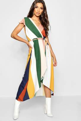 boohoo Tonal Stripe Wrap Front Maxi Dress