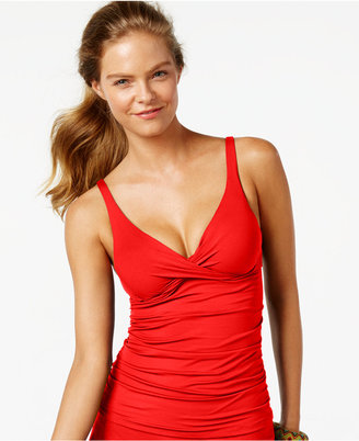 Anne Cole Ruched Bra-Sized Tankini Top $68 thestylecure.com