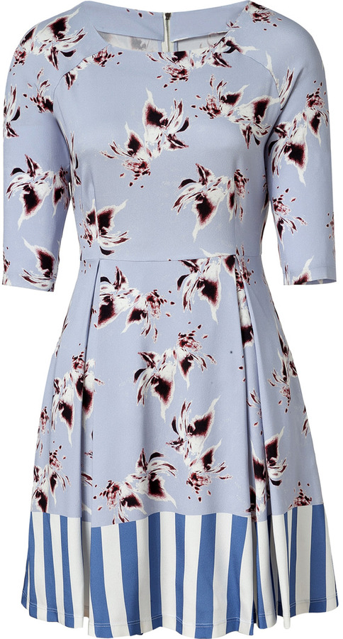 Suno Lilac-Multi Printed Silk Dress
